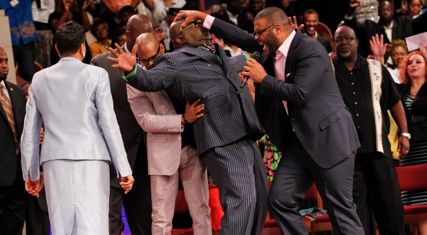 Tyler Perry Lays Hands on Bishop TD Jakes