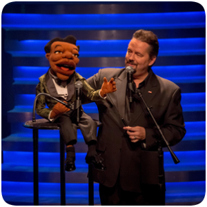 Terry Fator, ventriloquist, with puppet.